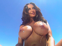 Ava Addams wets her ginormous tits in her pool