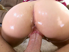 Miley May gets her oiled pussy stretched by a thick dong