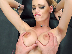 Erica Fontes lets him enjoy her fake tits as she takes his rod