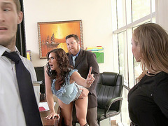 Phoenix Marie and Kendra Lust fucking two cocks in the office