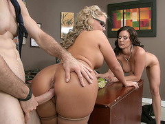 Phoenix Marie and Kendra Lust in an office threesome