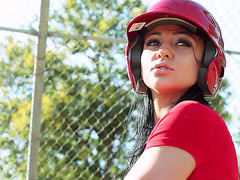 Audrey Bitoni playing baseball with Keiran Lee