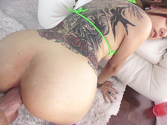 Roxanne Rae enjoys a thick cock plowing her ass hole