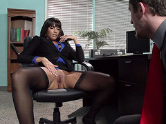 Mercedes Carrera seducing her co-worker by showing off her cunt