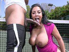 Busty Latina Kiara Mia swallowed big black penis