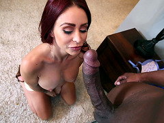 Monique Alexander took out black shlong and started sucking it