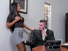 Elicia Solis lets her boss rub her pussy