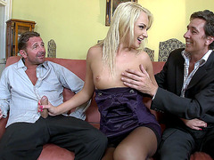 Ivana Sugar does a double blowjob