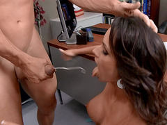 Ashley Sinclair drops on her knees and receives nice facial