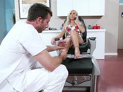 Nina Elle enjoys getting her feet massaged
