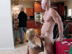 Sarah Jessie barely caught by her husband while giving head
