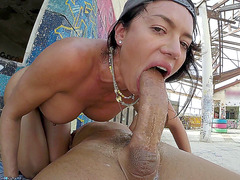 Franceska Jaimes swallows the whole thing in public
