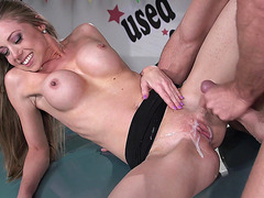 Busty Shawna Lenee taking big load on her pussy