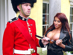 Madison Ivy seduces a Palace Guard by showing him her tits