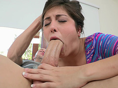Natalie Monroe takes about a half of his shlong in her mouth