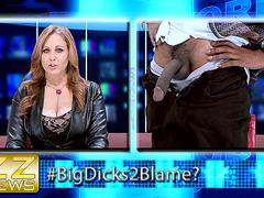 Julia Ann wraps her pretty lips around that fat dick on TV