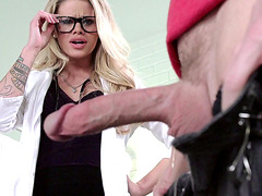 Jessa Rhodes wearing just glasses and stockings and getting fucked hard