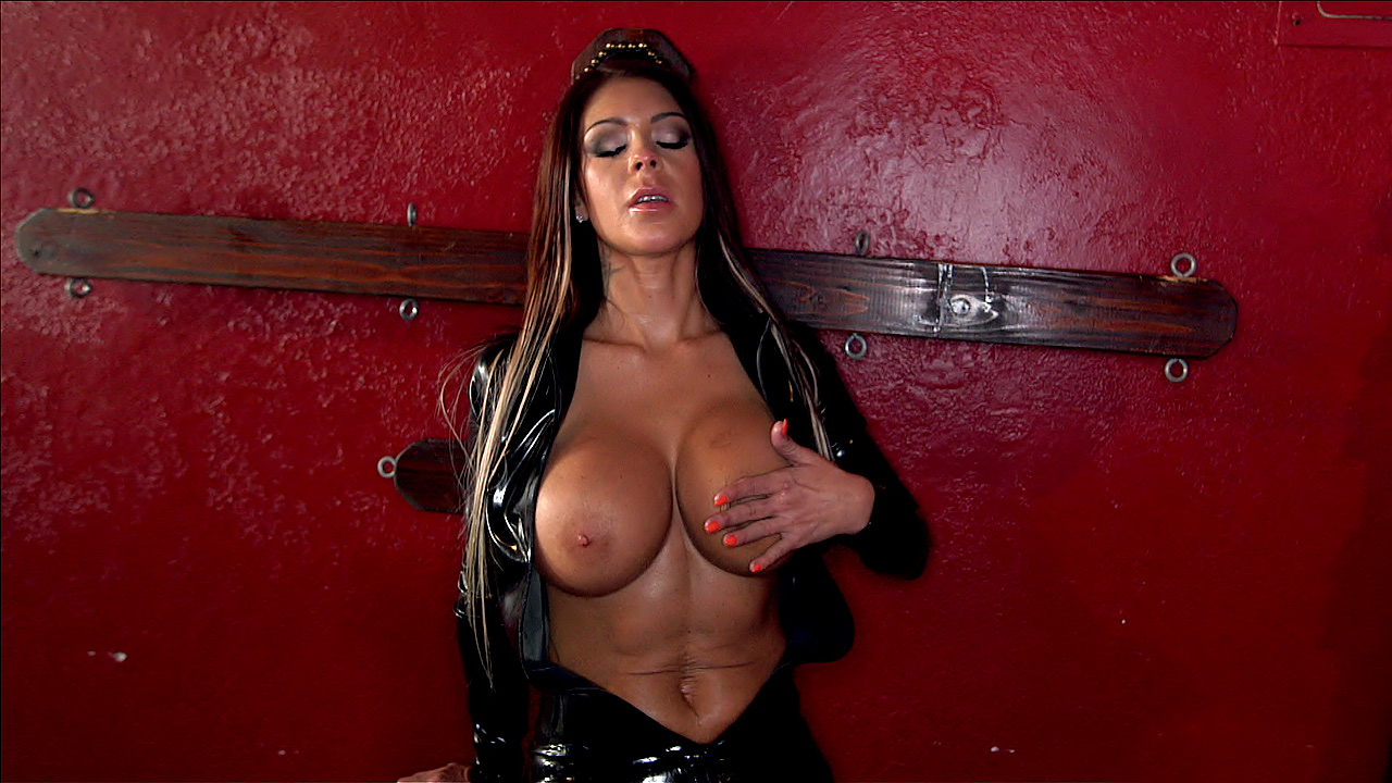 Brooke Ultra In A Leather Suit Showing Her Tits